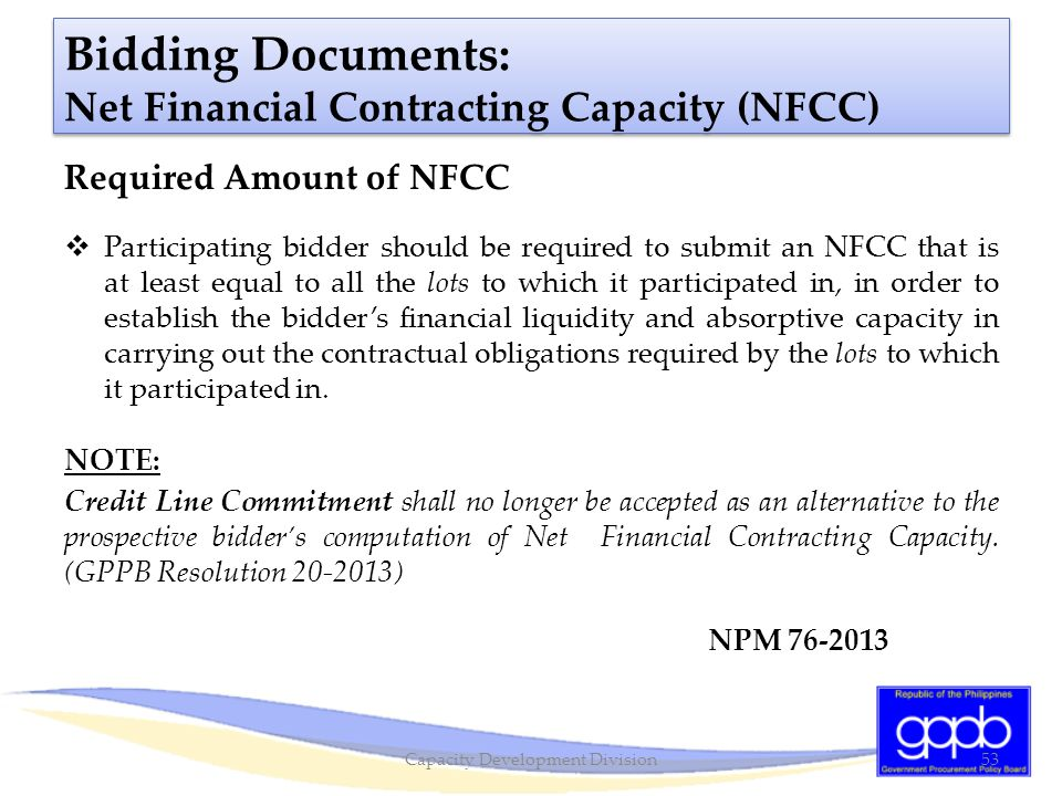 Bidding Documents: Net Financial Contracting Capacity (NFCC)