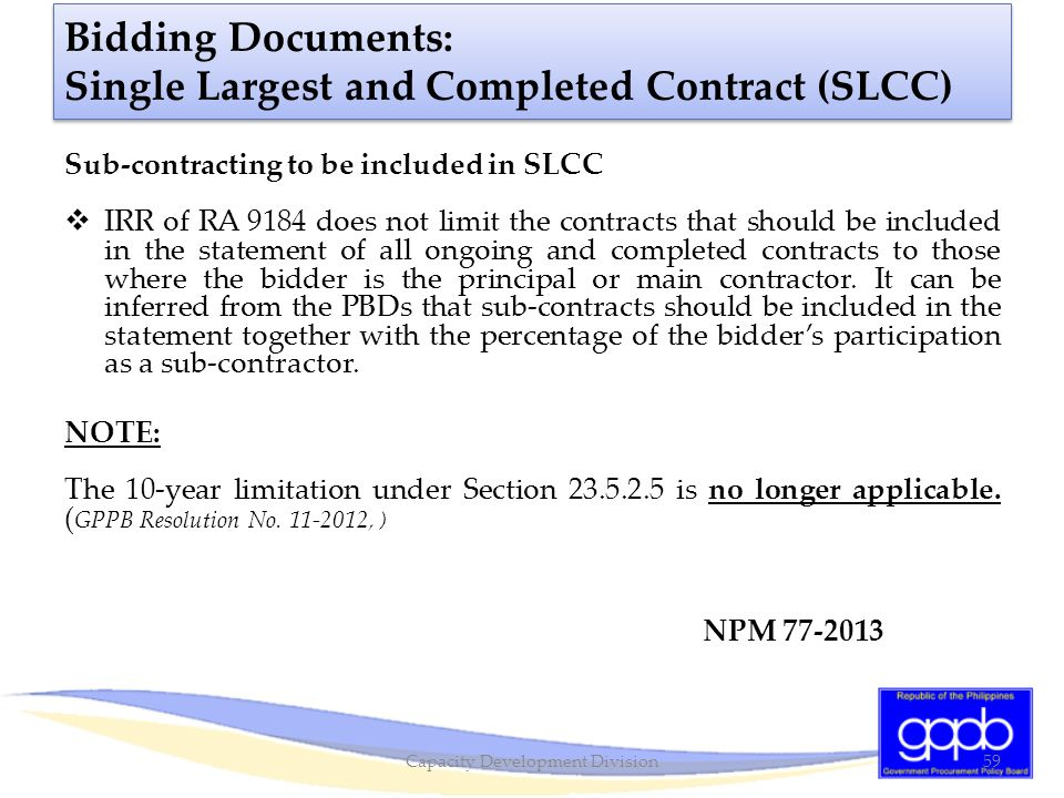 Bidding Documents: Single Largest and Completed Contract (SLCC)