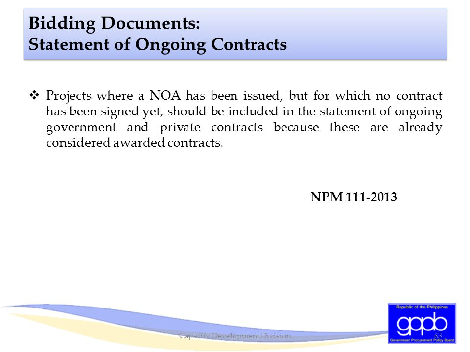 Bidding Documents: Statement of Ongoing Contracts