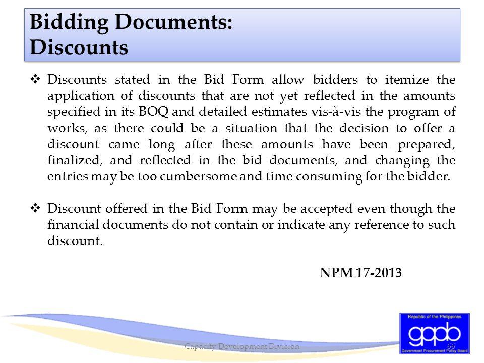 Bidding Documents: Discounts