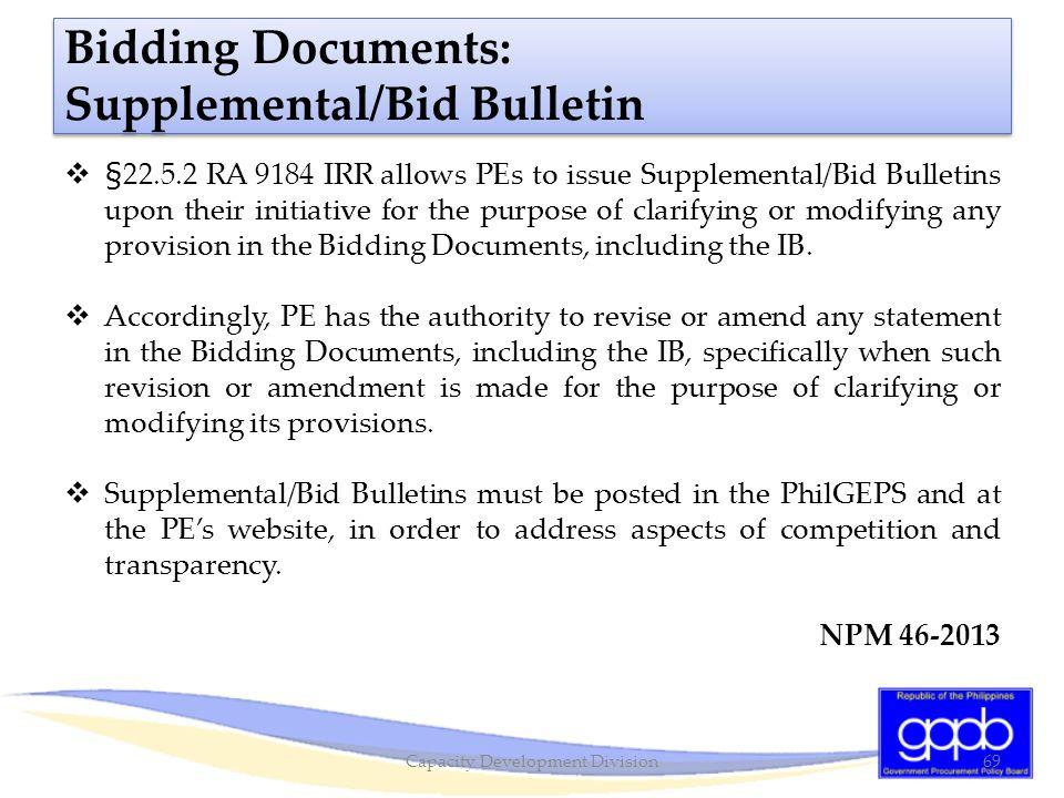 Bidding Documents: Supplemental/Bid Bulletin