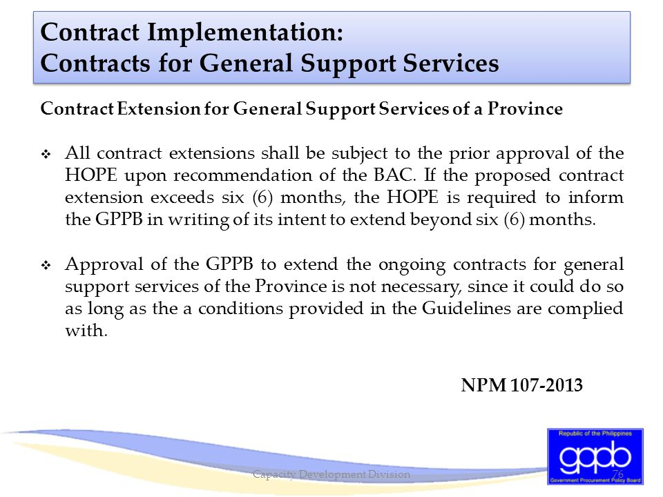 Contract Implementation: Contracts for General Support Services