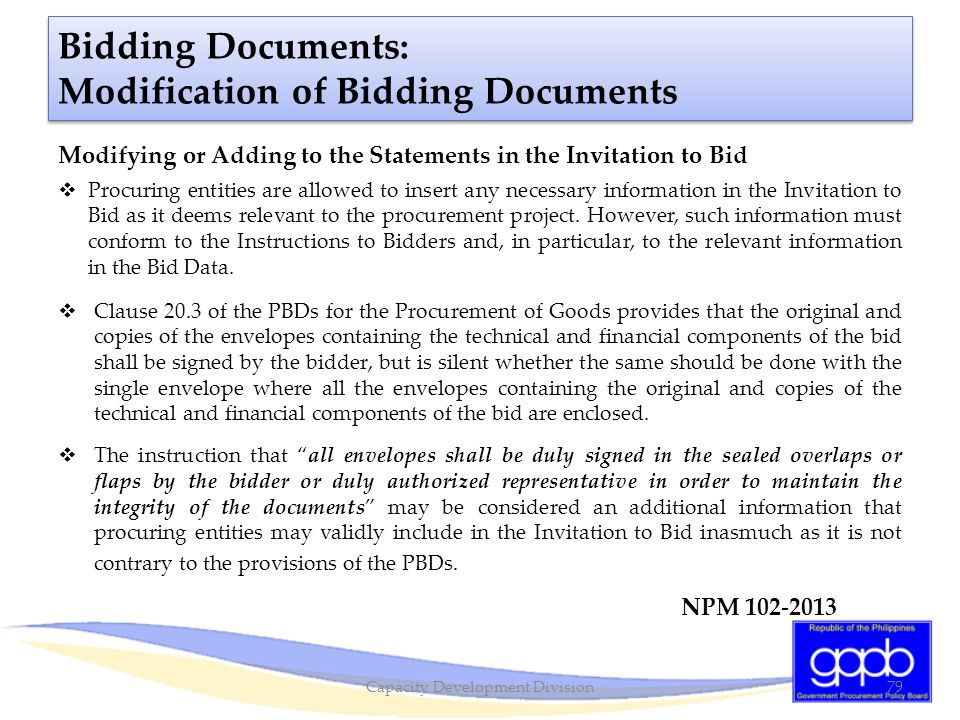 Bidding Documents: Modification of Bidding Documents