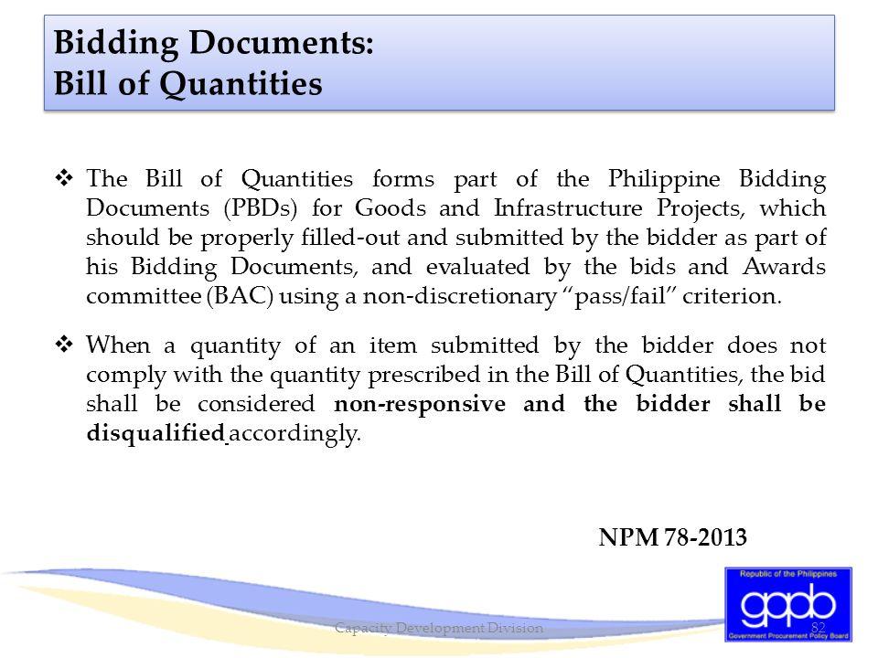 Bidding Documents: Bill of Quantities