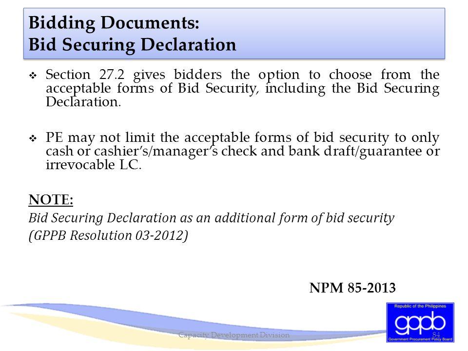 Bidding Documents: Bid Securing Declaration