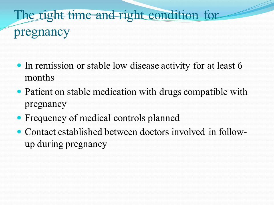 The right time and right condition for pregnancy
