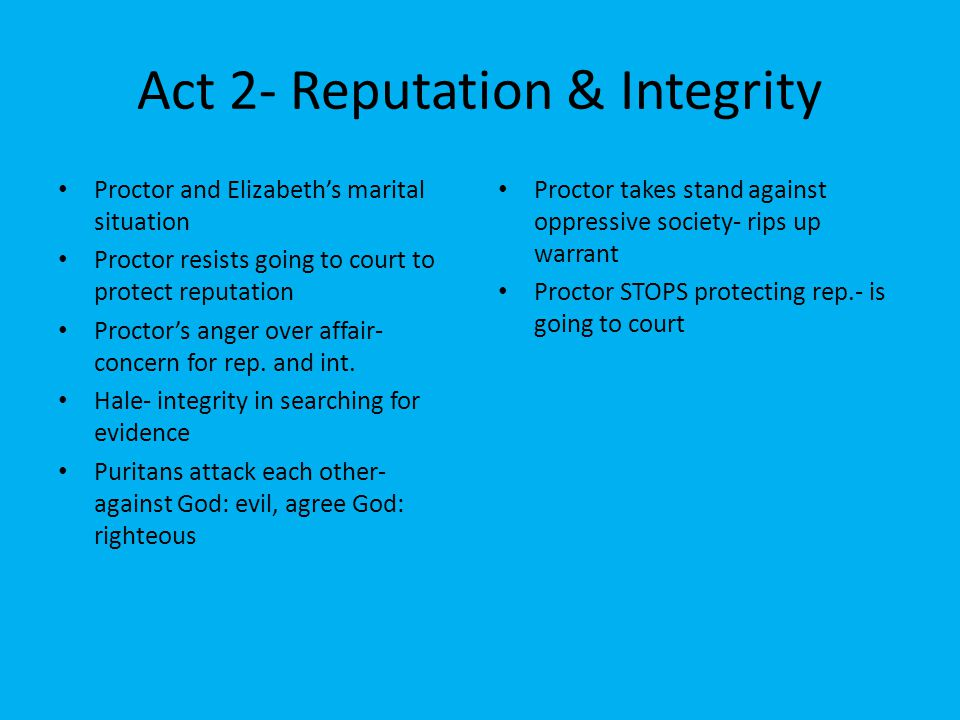 Act 2- Reputation & Integrity