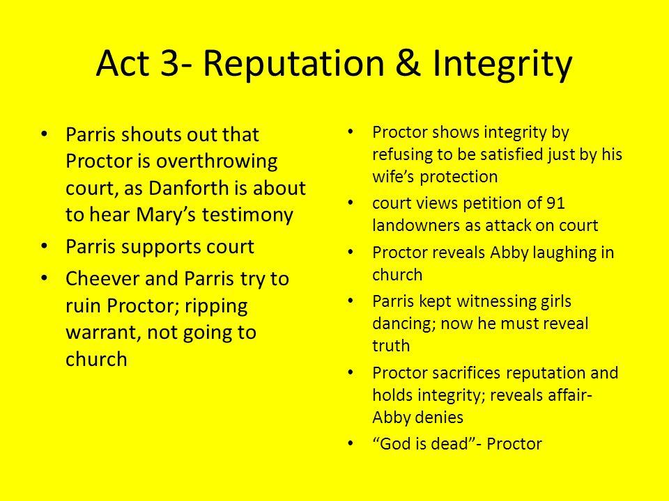 Act 3- Reputation & Integrity