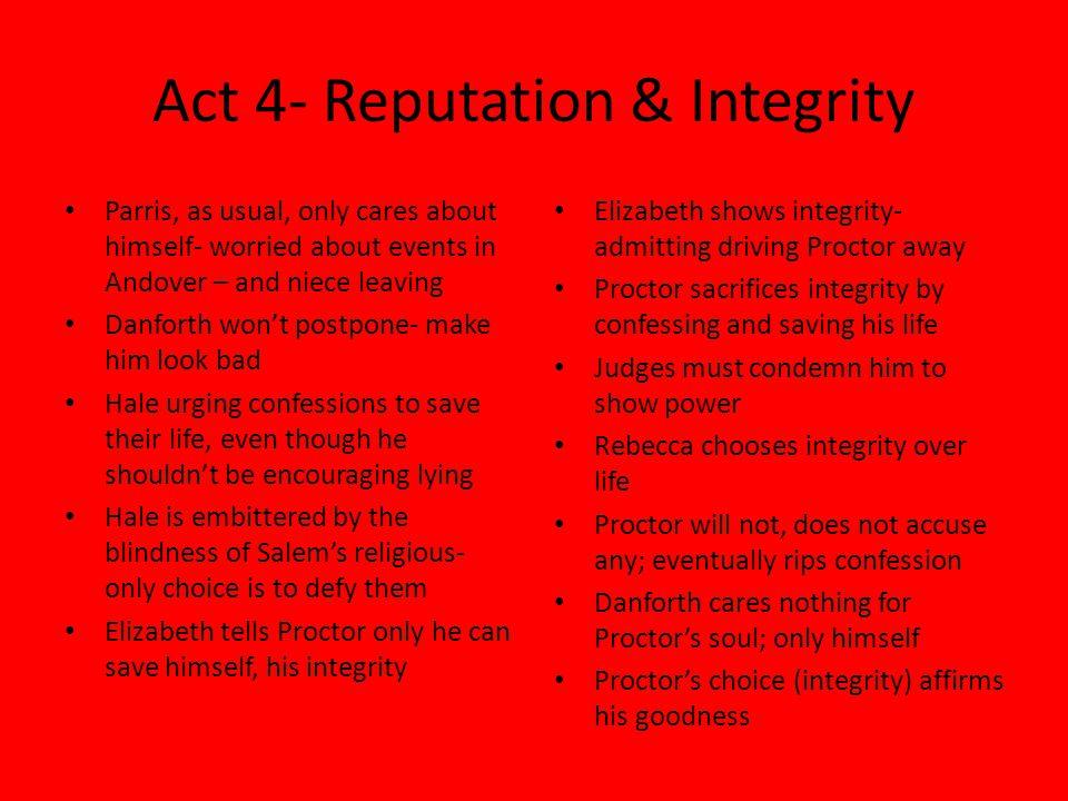 Act 4- Reputation & Integrity