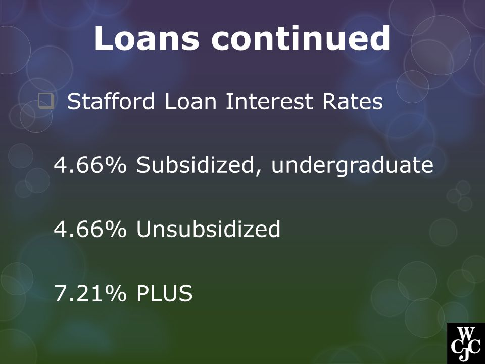 Loans continued Stafford Loan Interest Rates