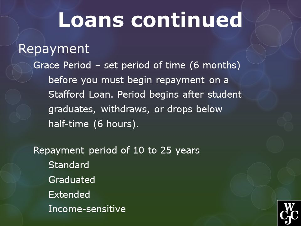 Loans continued Repayment Grace Period – set period of time (6 months)