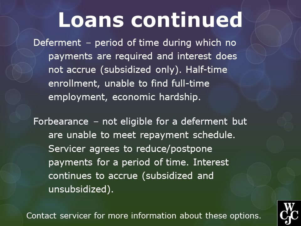 Loans continued Deferment – period of time during which no