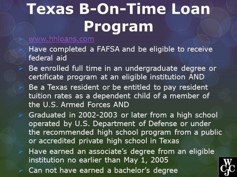 Texas B-On-Time Loan Program