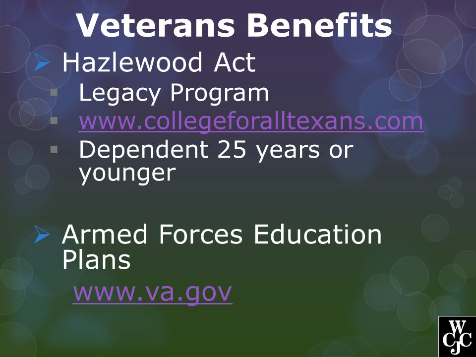Veterans Benefits Hazlewood Act Armed Forces Education Plans