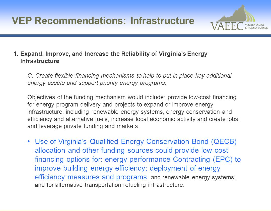 VEP Recommendations: Infrastructure