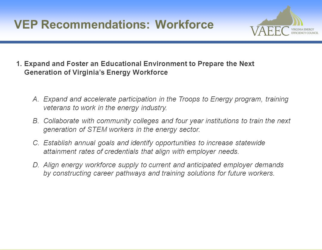 VEP Recommendations: Workforce