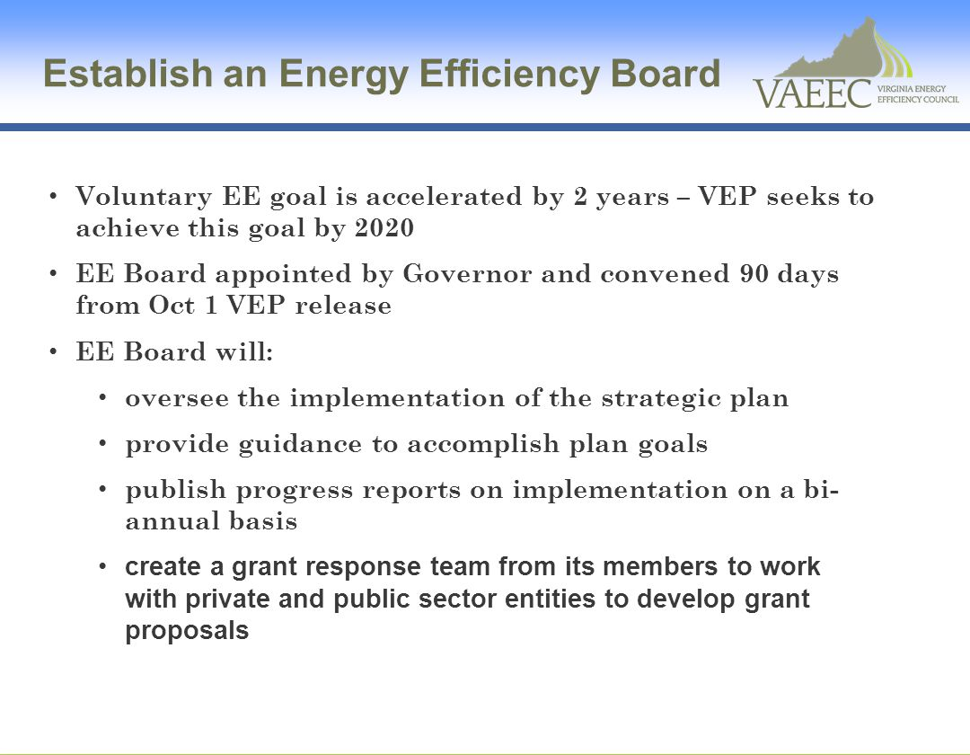 Establish an Energy Efficiency Board
