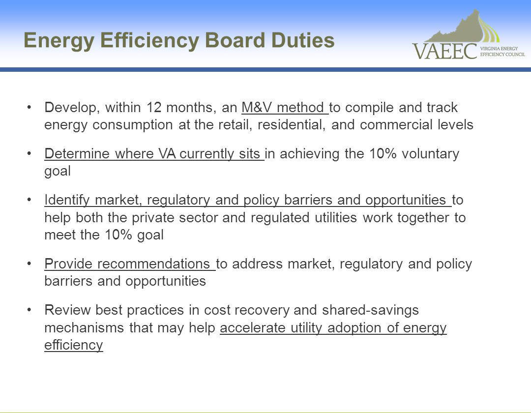 Energy Efficiency Board Duties