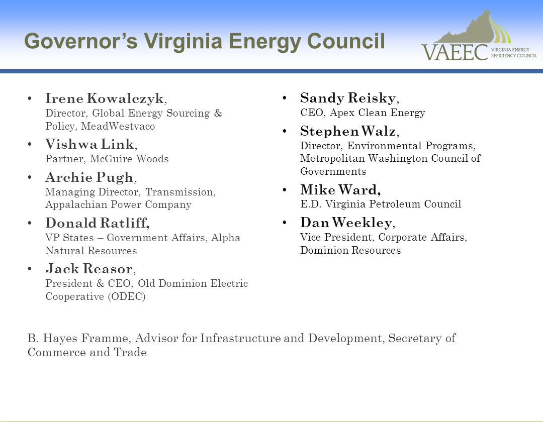 Governor's Virginia Energy Council