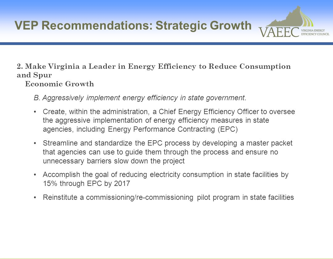 VEP Recommendations: Strategic Growth