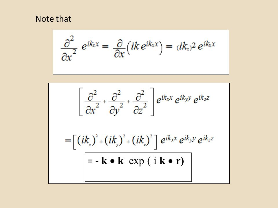 Note that = - k  k exp ( i k  r)