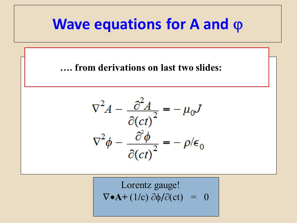 Wave equations for A and 