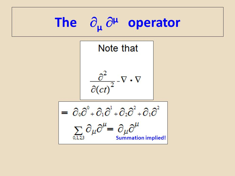 The µ µ operator Summation implied!