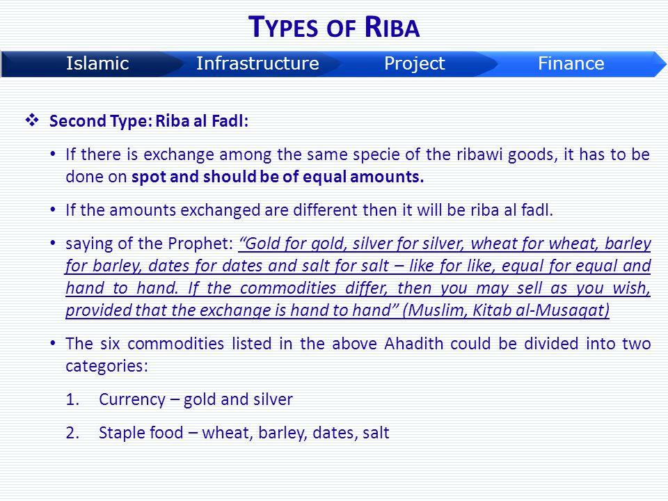 Types of Riba Second Type: Riba al Fadl: