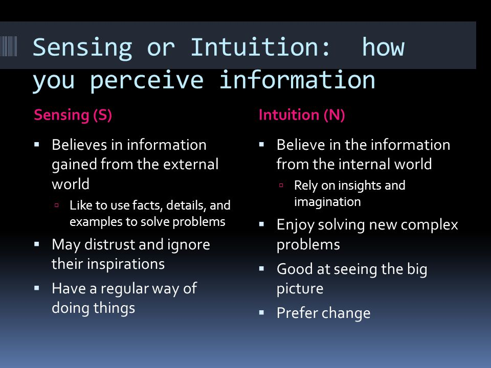 Sensing or Intuition: how you perceive information
