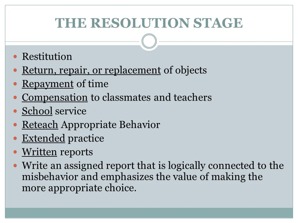 THE RESOLUTION STAGE Restitution