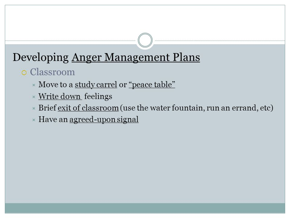 Developing Anger Management Plans