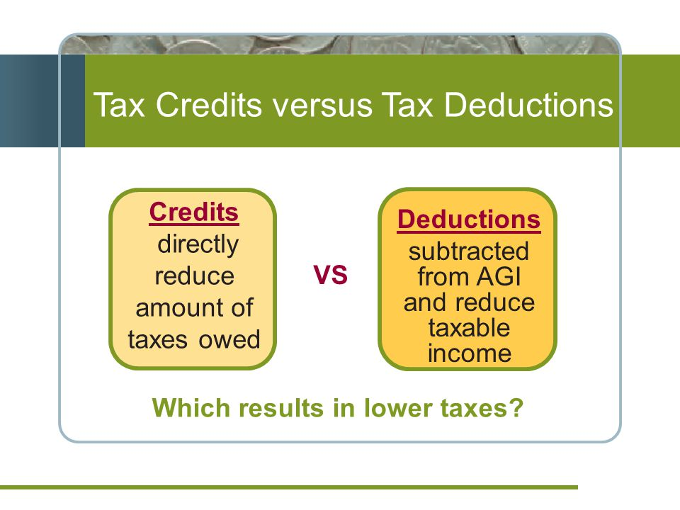 Tax Credits versus Tax Deductions