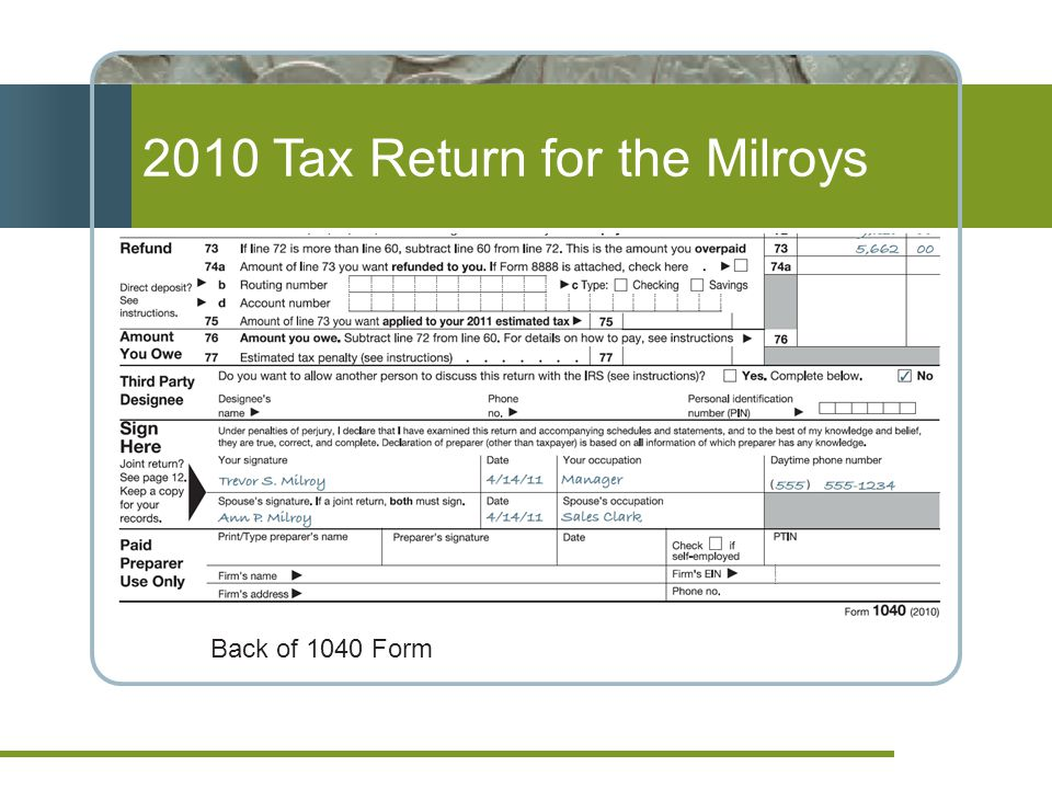 2010 Tax Return for the Milroys