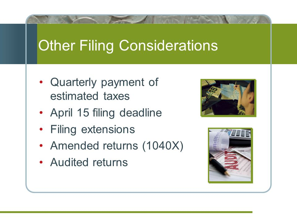 Other Filing Considerations