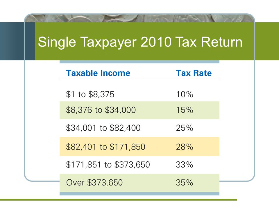 Single Taxpayer 2010 Tax Return