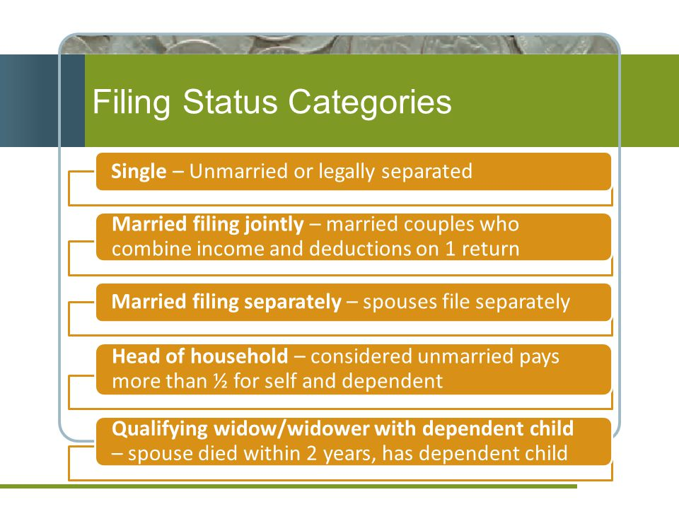 Filing Status Categories