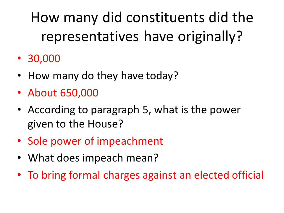 How many did constituents did the representatives have originally