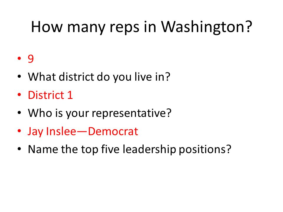 How many reps in Washington