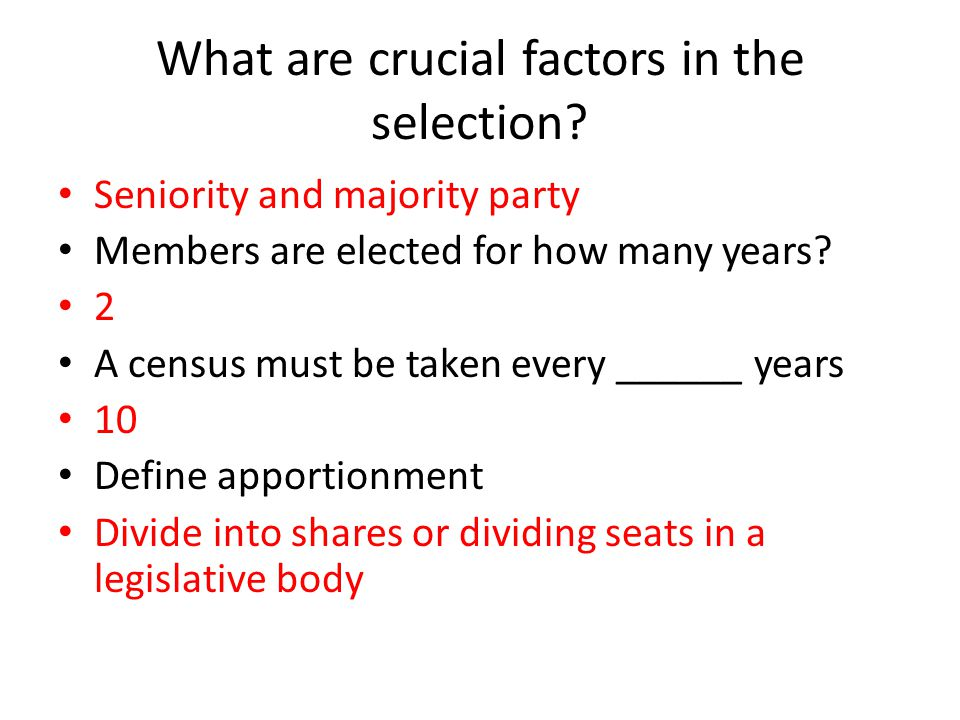 What are crucial factors in the selection