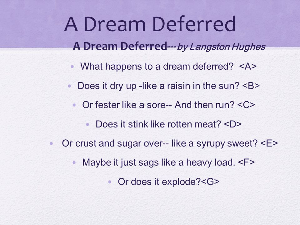 A Dream Deferred A Dream Deferred---by Langston Hughes