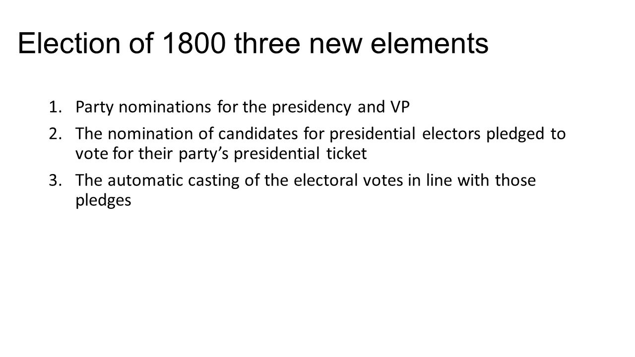 Election of 1800 three new elements