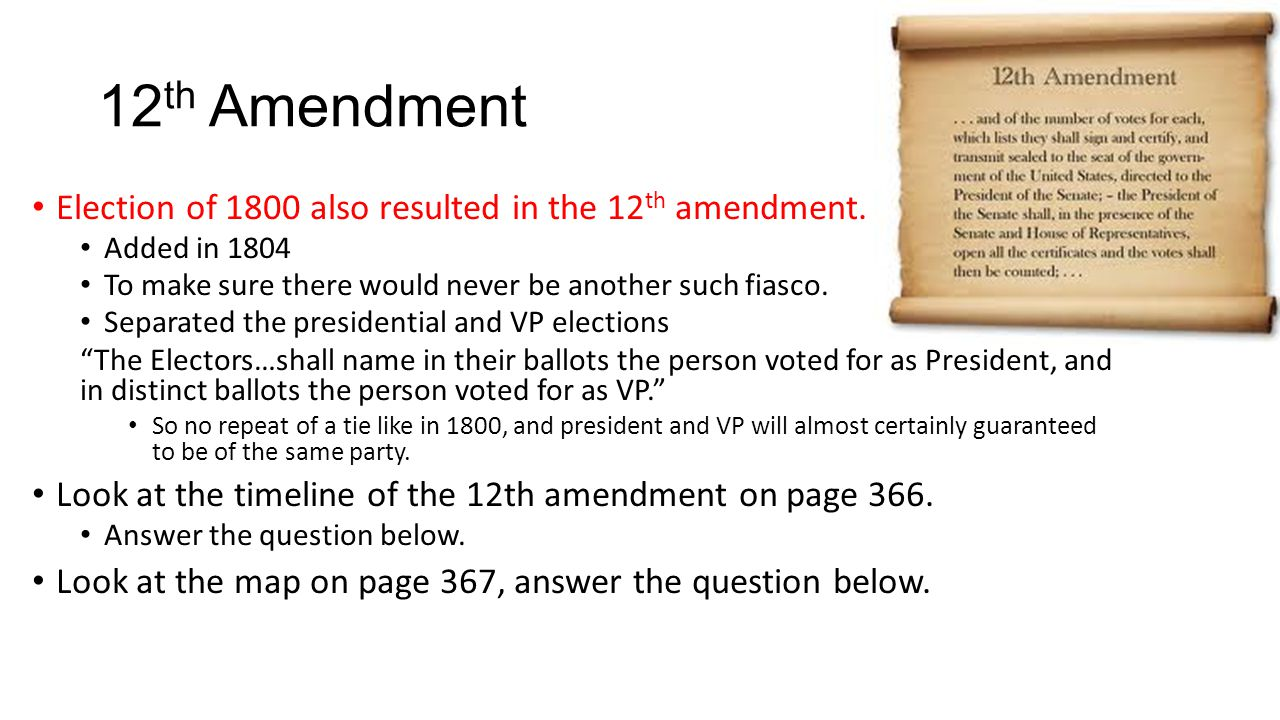 12th Amendment Election of 1800 also resulted in the 12th amendment.