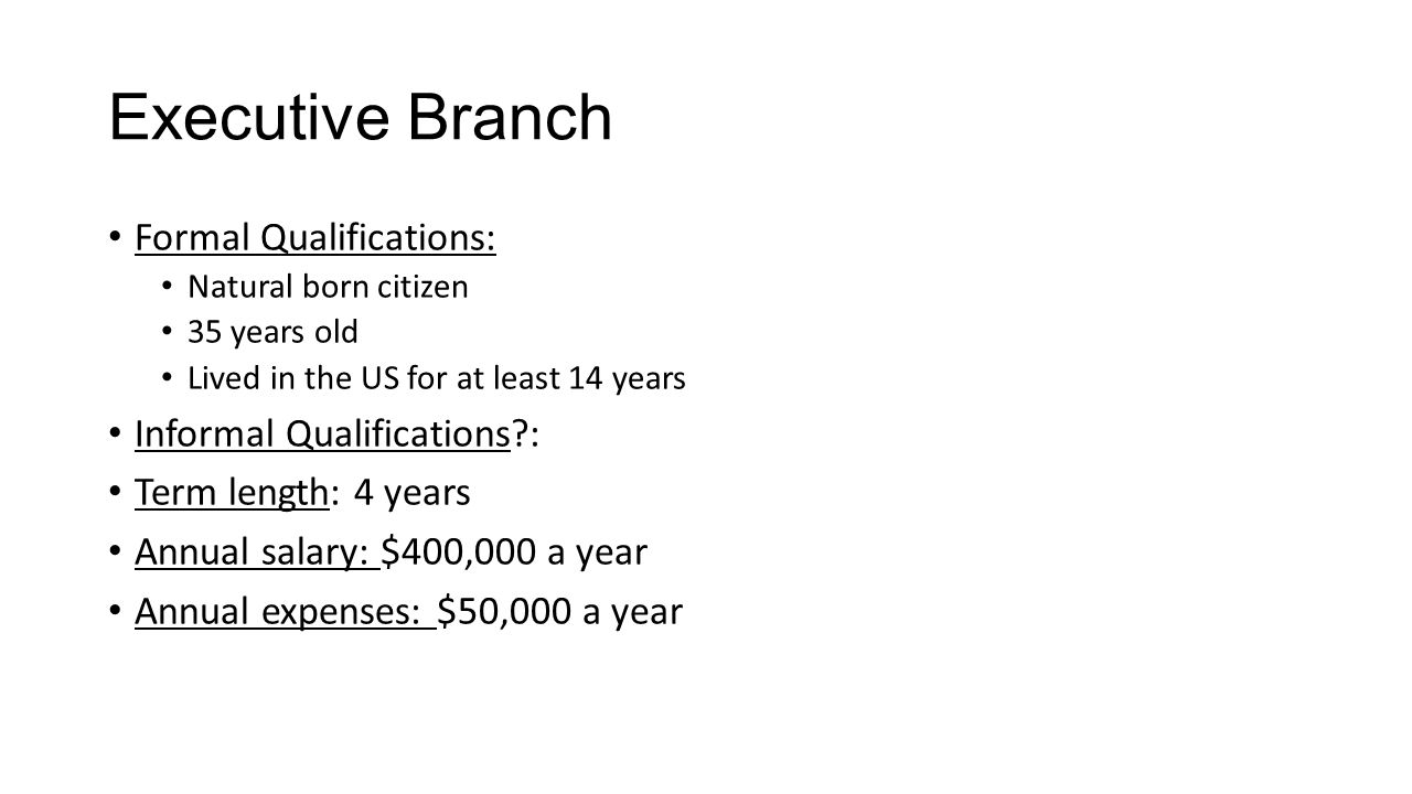 Executive Branch Formal Qualifications: Informal Qualifications :