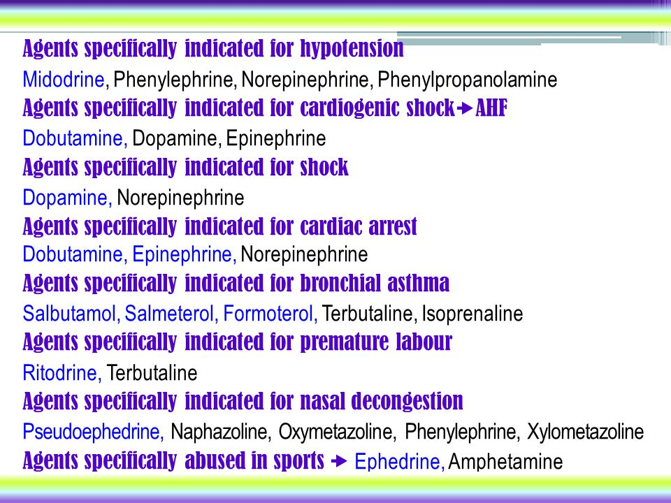 Agents specifically indicated for hypotension
