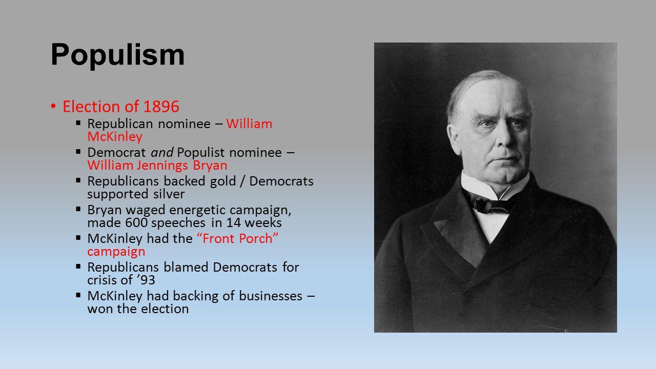 Populism Election of 1896 Republican nominee – William McKinley