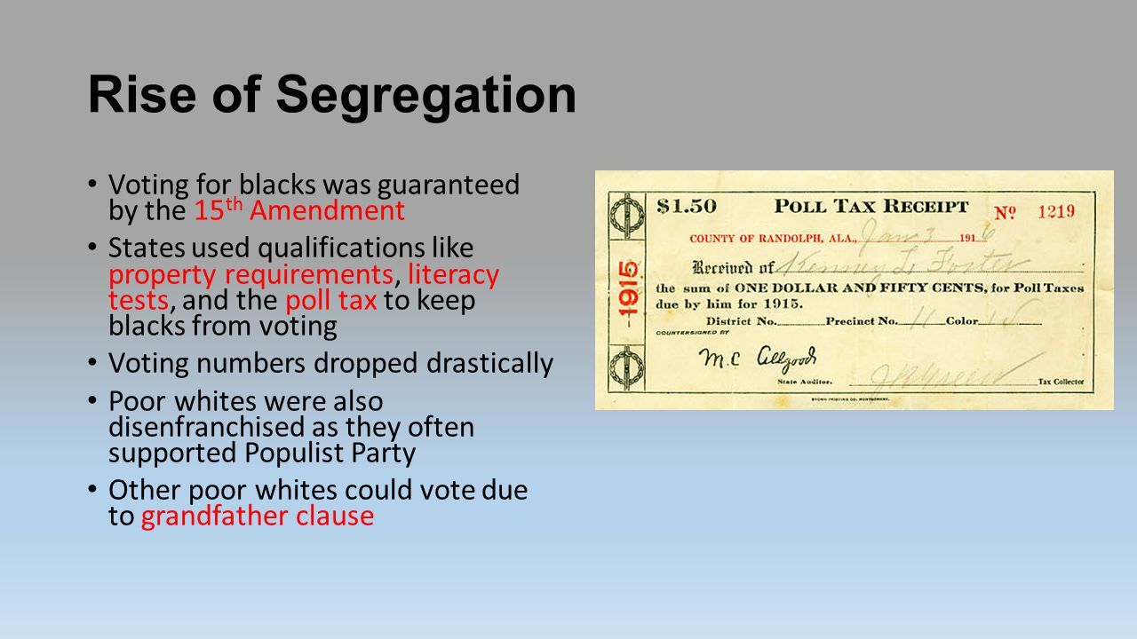 Rise of Segregation Voting for blacks was guaranteed by the 15th Amendment.