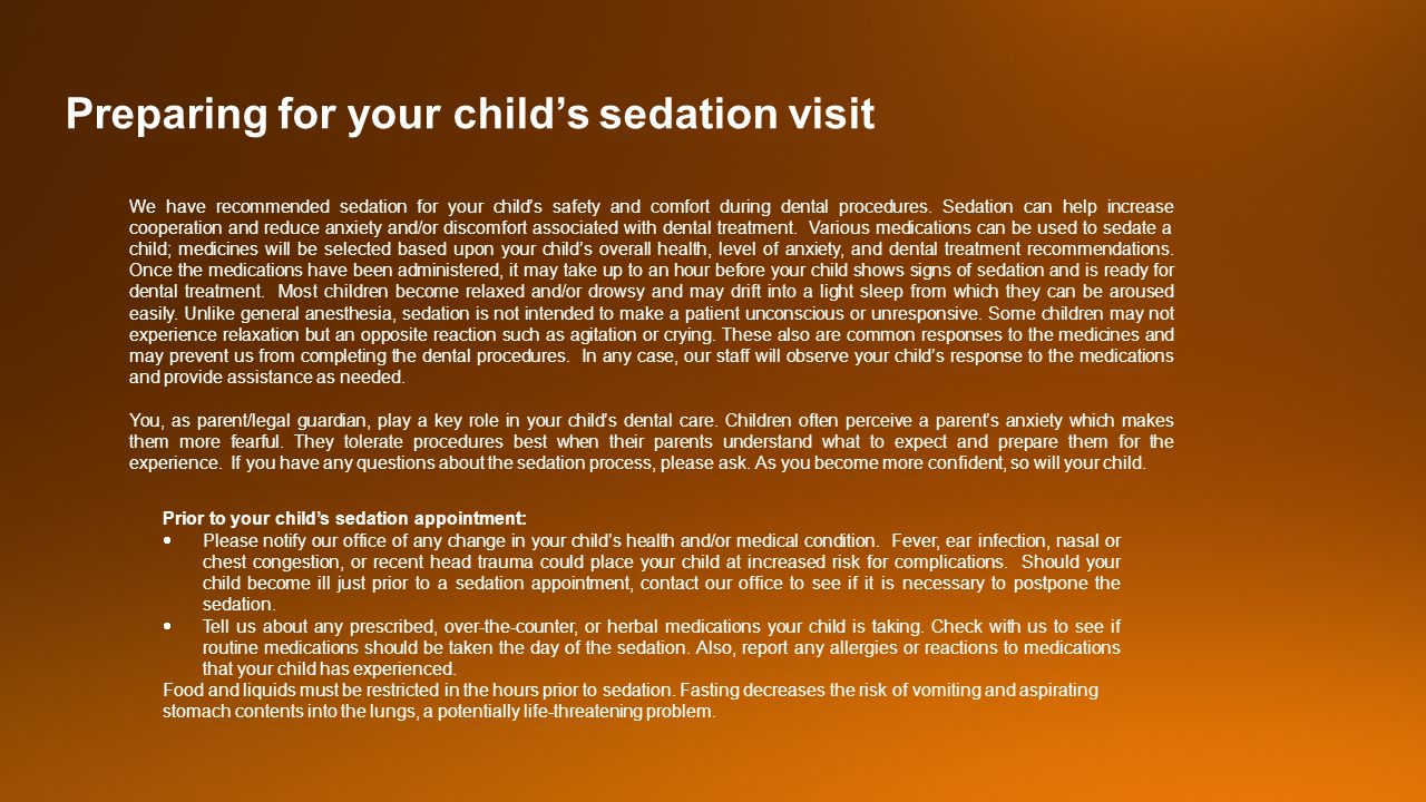 Preparing for your child's sedation visit