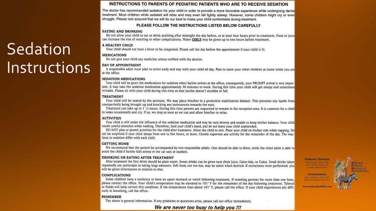 Sedation Instructions