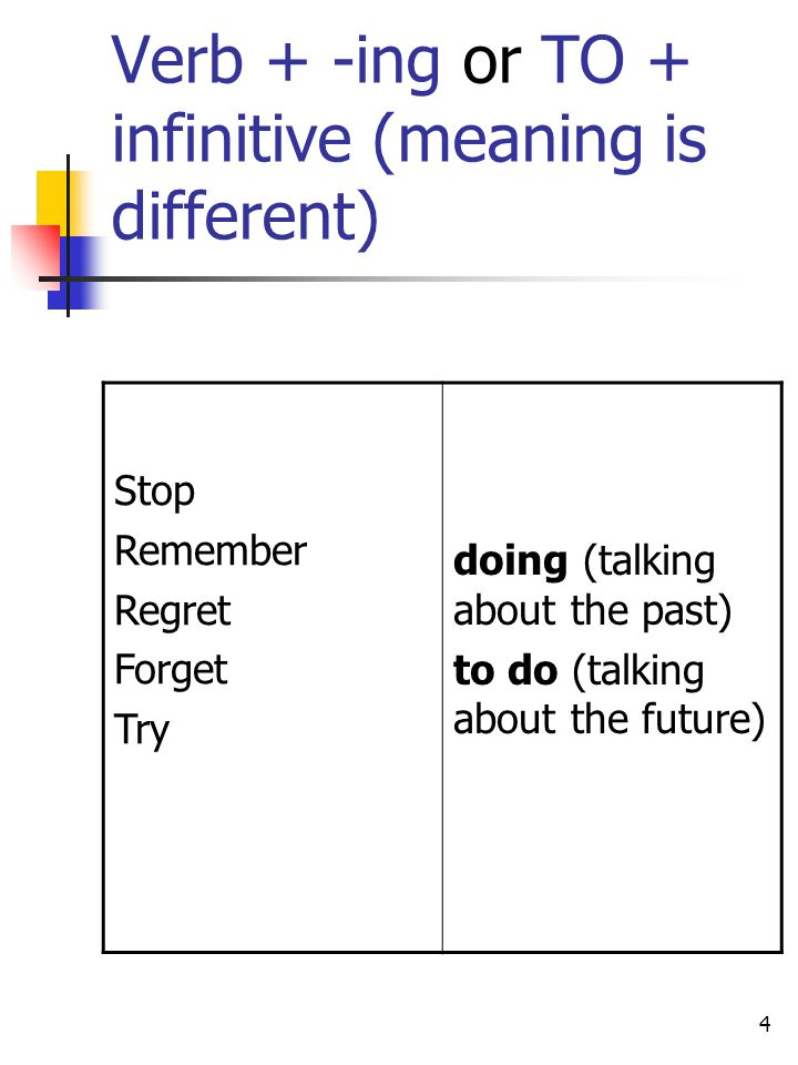 Verb + -ing or TO + infinitive (meaning is different)
