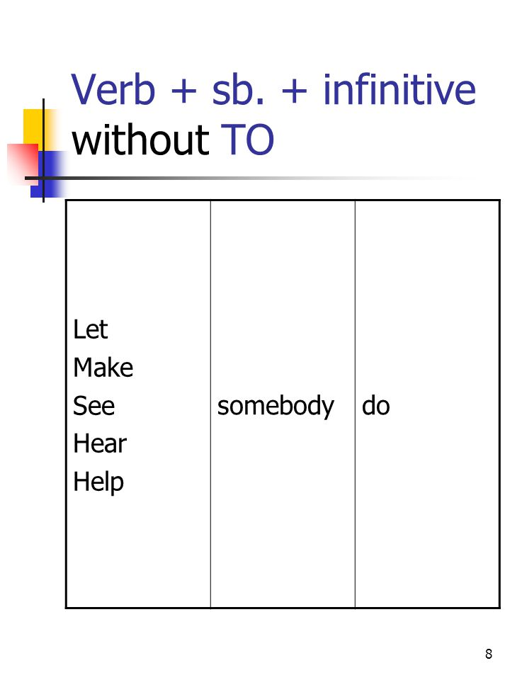 Verb + sb. + infinitive without TO